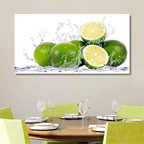 Quadri L&C ITALIA Quadri Cucina Moderni Frutta 90x45 Stampa su Tela Decorazioni da Parete Soggiorno Bar Ristorante, Lime
