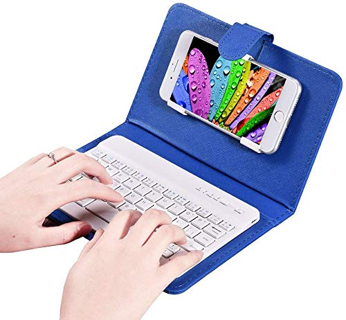 keyboard with leather cases fosa Wireless Bluetooth Keyboard with Portfolio Flip Leather Case Cover with for 4.5''-6.8'' iOS, Android and Windows Smart Phones(Blue)