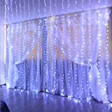 Curtain Lights, 300 LED White Fairy Lights String with Remote, 8 Modes 9.8 Ft × 9.8 Ft Curtain String Lights, IP68 Waterproof, USB Plug in, Curtain Fairy Lights for Chrismas, Wedding, Party, Backdrop