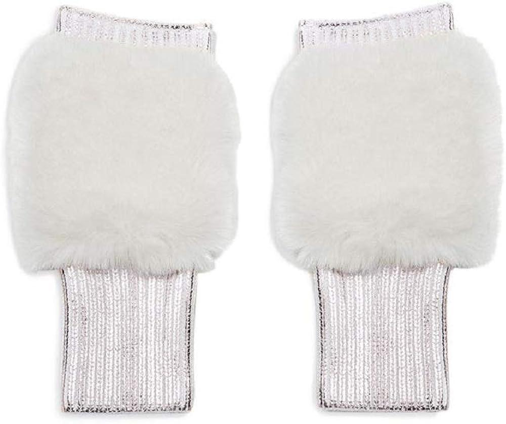 Jocelyn Women's Faux Fur Pull Thru Scarf & Mittens Set, Black, One Size