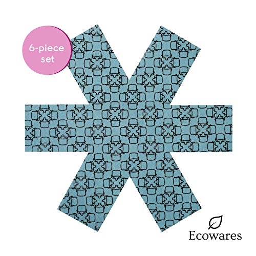 Pot & Pan Protectors - Set of 6 by Ecowares - Large 16 Inches Wide - Blue Print - Luxury Divider Pads to Prevent Scratching, Separate and Protect Surfaces of Your Cookware - for Home and RV