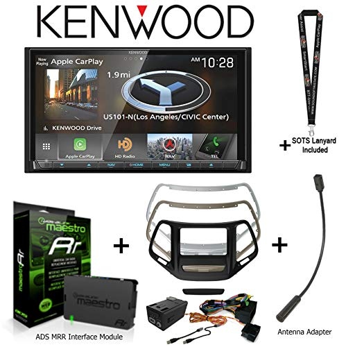 """Kenwood DNX875S 6.95"""" Navigation Receiver, Apple CarPlay/Android Auto, iDatalink KIT-CHK1 Dashkit for Jeep Cherokee, BAA23 Antenna Adapter, ADS-MRR Interface Module and SOTS Lanyard"""