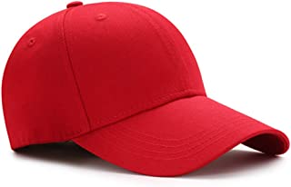 EUFANCE Baseball Cap for Kids, Adjustable Cotton Plain Caps Solid Toddler Hat Red