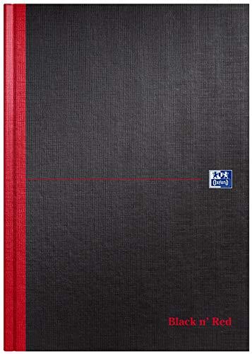 Oxford Black n' Red A4 Hardback Casebound Notebook Ruled 192 Page, Black/Red