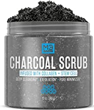 M3 Naturals Activated Charcoal Scrub Infused with Collagen and Stem Cell - Natural Exfoliating Body and Face Polish for Acne, Cellulite, Dead Skin, Scars, Wrinkles - Cleansing Exfoliator 12 oz