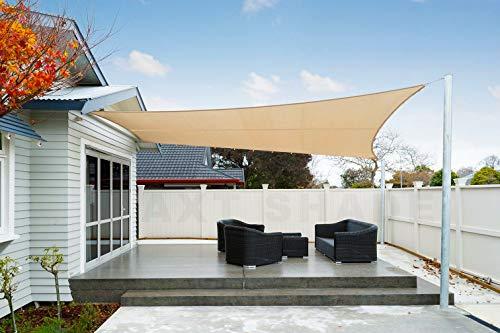 AXT SHADE Toldo Vela de Sombra Rectangular 4 x 6 m, protección Rayos UV Impermeable para Patio, Exteriores, Jardín, Color Arena