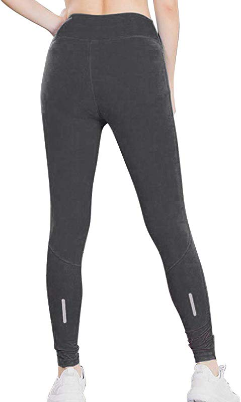 Yetou Women Yoga Capri Pants With Pockets High Waist Tummy Control Leggings 4 Way Stretch Soft Running Leggings Gray