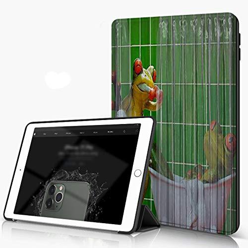 She Charm Funda para iPad 9.7 para iPad Pro 9.7 Pulgadas 2016,Divertidas Parejas de Ranas se sumergen en los Dientes del Cepillo de baño,Incluye Soporte magnético y Funda para Dormir/Despertar
