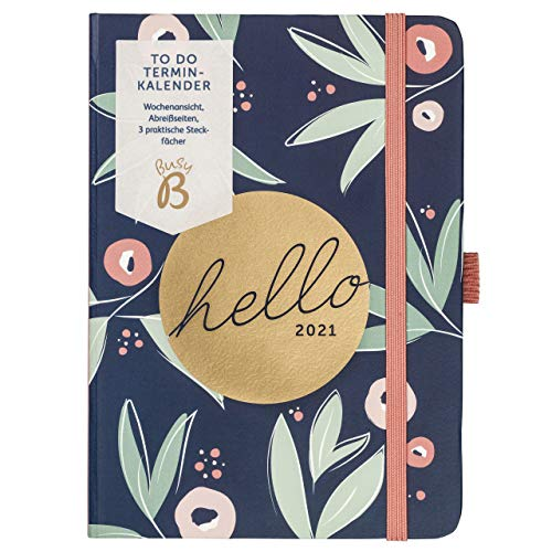 BusyB B - To Do Diary Terminkalender von Januar bis Dezember - A6 Navy Blumen - Wochenansicht Terminkalender mit Notizen, Abreißlisten und Steckfächern, 2229