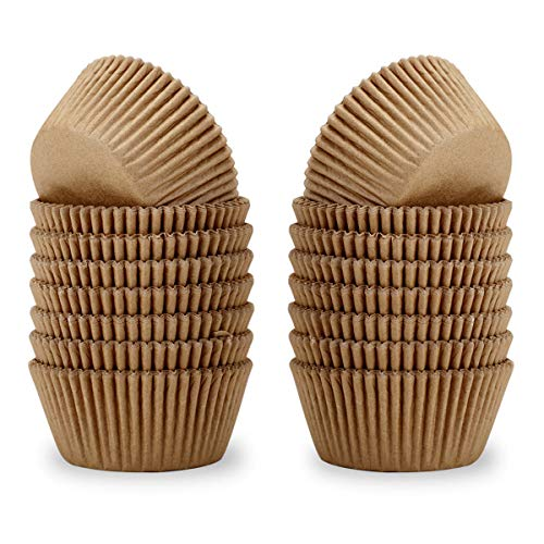 Lelekiss Natural Standard Cupcake Liners Odorless Greaseproof Paper Baking Cups 400-Count, Natural Color