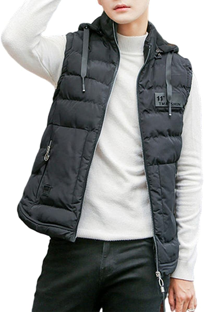 Men's Thicken Vest Removable Hooded Outwear Sleeveless Puffer Coat Jacket