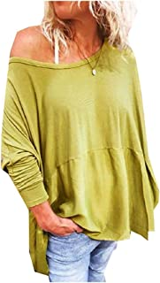 AngelSpace Women Blouse Long Sleeve Lounge Crewneck Solid Colored Tees Top