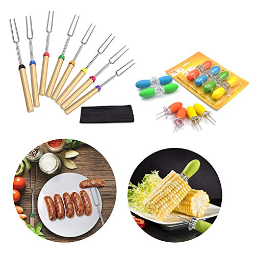 Yolistar 8pcs Roasting Sticks, 8pcs Corn Holders, Stainless Steel Hot Dog Fork with Wooden Handle Grilling Skewers, Corn Cob Skewers with Silicone Handle for BBQ/Home Cooking/Picnics/Parties/Barbecue