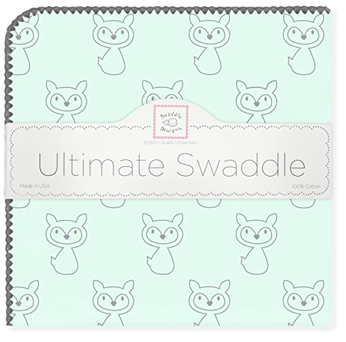 SwaddleDesigns Ultimate Winter Swaddle, X-Large Receiving Blanket, Made in USA, Premium Cotton Flannel, Gray Fox on SeaCrystal (Mom's Choice Award Winner)