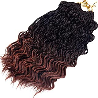 Wavy Senegalese Twist Crochet Braids 6packs/lot 14Inch 35Strands/Pack Synthetic Kanekalon Crochet Hair Curly Havana Mambo Twist Braiding Hair (14 Inch, T1B/30#)