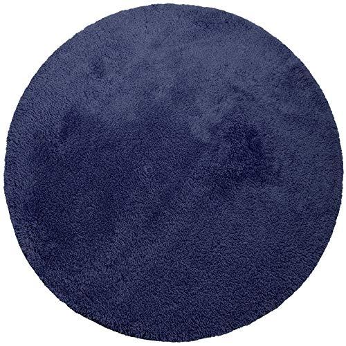 Badteppich Badematte Badvorleger Marine blau rund 100 cm Durchmessr von Dyckhoff