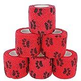 Paws & Patch 6er-Set selbsthaftender Verband für Haustiere I Pfoten-Muster
