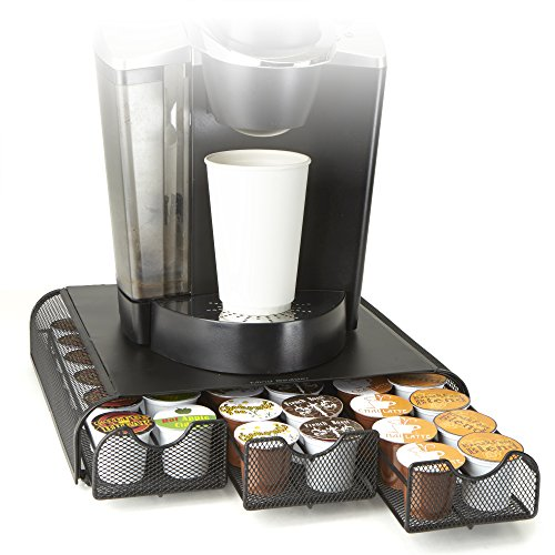 Mind Reader 'Anchor' Coffee Pod Triple Drawer 36 Capacity, Black Metal Mesh, 13.2w x 12d x2.75h