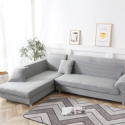 Hiseng Funda Elástica de Sofá Universal Chaise Longue Fundas Protectora para Sofa contra Polvo en Forma de L 2 Piezas Extraíbles y Lavables Cubre Proteger (Gris,3 Asientos + 3 Asientos)