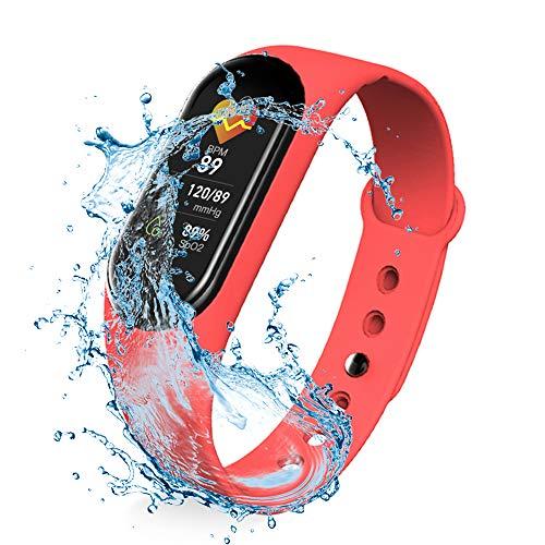 (Reacondicionado Modelo 2020) M5 Pulsera Deportiva con Comunicación de Voz y Música Presión Arterial Monitor de Actividad, Sueño y Fitness Tracker, Monitor de Ritmo Cardíaco SMS y SNS (Rojo)