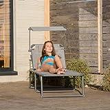Relaxdays Gartenliege klappbar, Sonnenliege Dach, Deckchair, Sonnenschutz, verstellbar, HBT: 37 x 70 x 200 cm, beige - 2