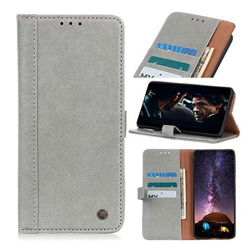 Funda para Samsung Galaxy A02S, de piel sintética a prueba de golpes, con ranuras para tarjetas, cierre magnético, protección completa, color gris