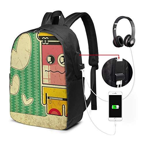 SNFDFS Mochila Bolsas con Puerto USB 15,6 Pulgadas, Moda Mochila De Viaje Camping Casual Mochila Sad Game Boy Mochila Escolar Mochila