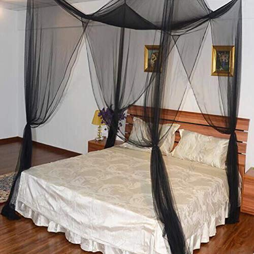 Mosquito Net, 4 Corner Post Bed Canopy Quick Easy Installation for Single to King Size Beds Hammocks Cribs (Black)