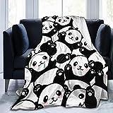 Delerain Weiche Tagesdecke mit Panda-Motiv, 101,6 x 127 cm, leichte Flanell-Fleece-Decke für Couch, Bett, Sofa, Reisen, Camping, für Kinder & Erwachsene