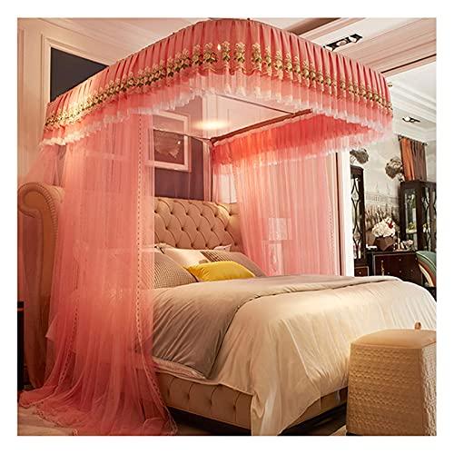 Rede de dossel para meninas para cama (1,5-2,2 m) - 3 aberturas Fio fino de barraca engrossado - Cortinas de cama com trilho em forma de U - Decoração do quarto (tamanho: para cama de 2 m / 6,6 pés)