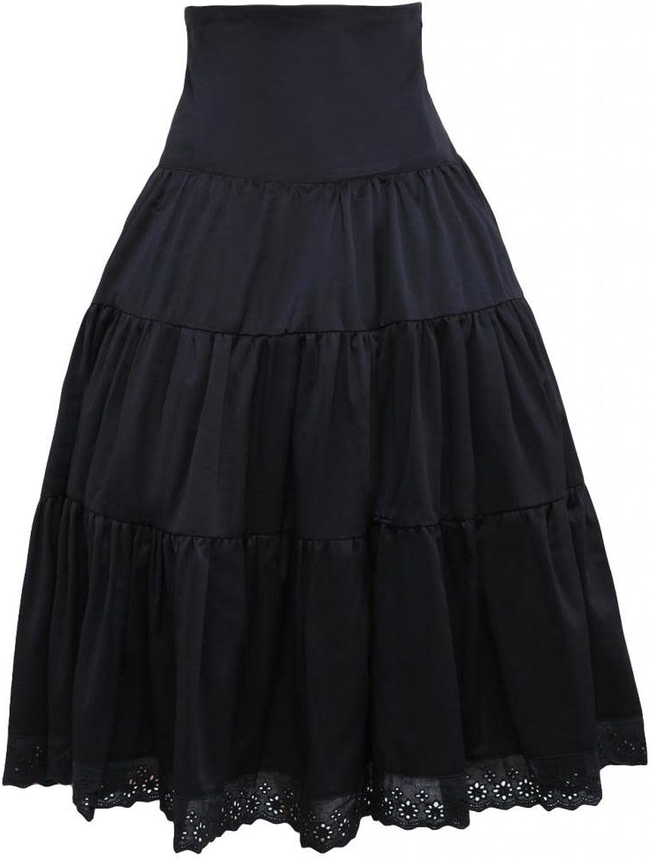 Hugme Pure Black Cotton Loltia Long Skirt High Waist Ruffles Trim