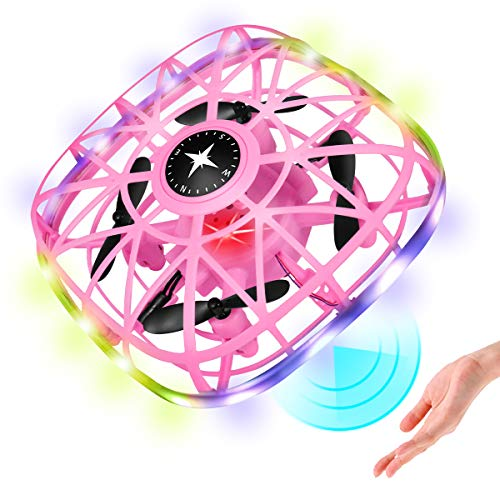 Cqfly Hand Operated Drone, Mini RC Drone for Kids, Gravity Sensing RC Nano Aircraft with Obstacle Avoidance, Hand Control, Throw to Fly,Altitude Hold, 3D Flips & Light, Boys Girls Gift Toys(Pink)