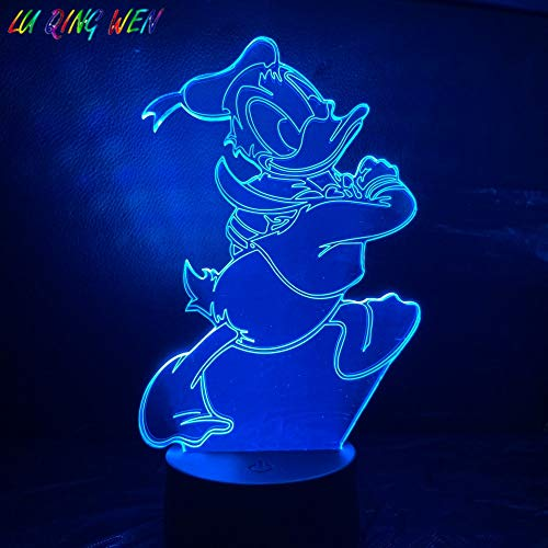 Baby Led Night Light Cartoon Movie Donald Cute Mouse Duck Bedroom Atmosphere Color Change 3D Illusion Table Lamp Kids