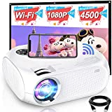 WiFi Mini Projector, 2020 Upgraded 4500 Lux Portable Video Projector, Support 1080P HD 200' Screen for Home & Outdoor Movie Theater, for iOS Android Phone,TV Stick,HDMI,USB,TF,VGA