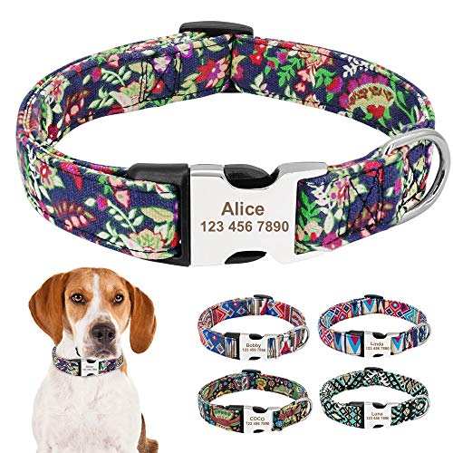 AEAP Nylon Print Dog Collar Personalized Pet Cat ID Tag Collars Custom Engraved Dogs Collars Adjustable for Small Large Dogs Pitbull