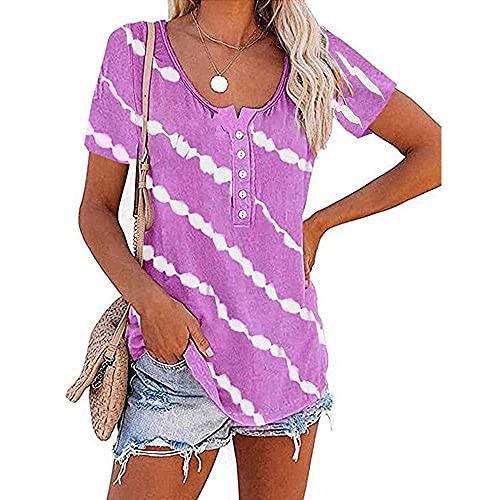 Manga Corta Mujer Tops Elegante Moda Verano Cuello Redondo Mujer Blusa Chic Botones Tie Dye Blancas Rayas Impresión Diseño Diario Casual Ligero Cómodo All-Match Mujer T-Shirt F-Purple XL
