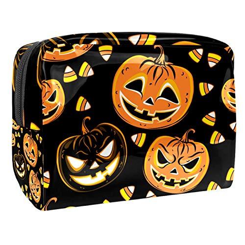 Halloween calabaza lámpara impermeable bolsa cosmética 18.5x7.5x13cm viaje portátil maquillaje caso bolsa para mujeres niñas