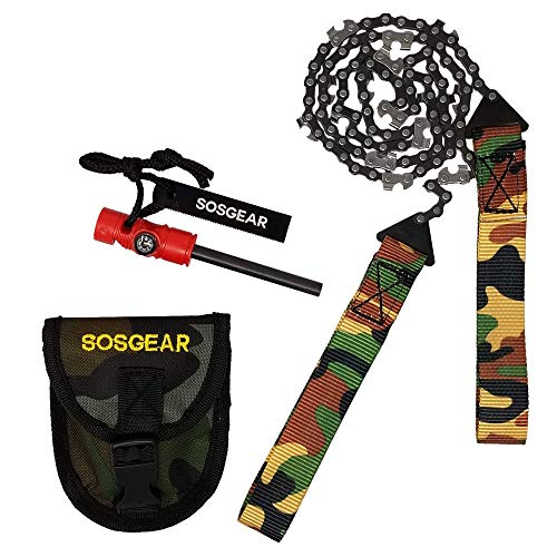 SOS Gear Pocket Chainsaw and Fire Starter - Survival Kit with Hand Saw in Camo Embroidered Pouch, Firestarter with Built in Compass and Whistle for Camping - Backpacking - 24' Saw Chain