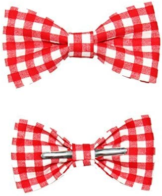Toddler Boy 4T 5T Red White Picnic Gingham Clip On Cotton Bow Tie by amy2004marie
