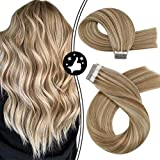 Moresoo 24 Pulgadas Skin Weft Tape Human Remy Hair Extensions Real Human PU Medium Brown Hair Color #6 Mixed With #60 Hair Extensions Platinum Blonde Tape Human Hair Glue In Hair Extensions 20PCS 50G