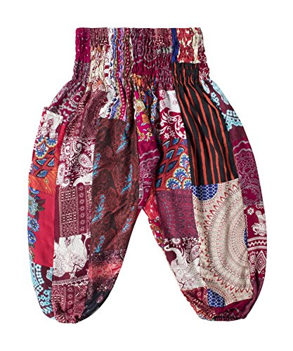 Lofbaz Pantalones Boho de Parche para niño - Borgoña - 12-13Y