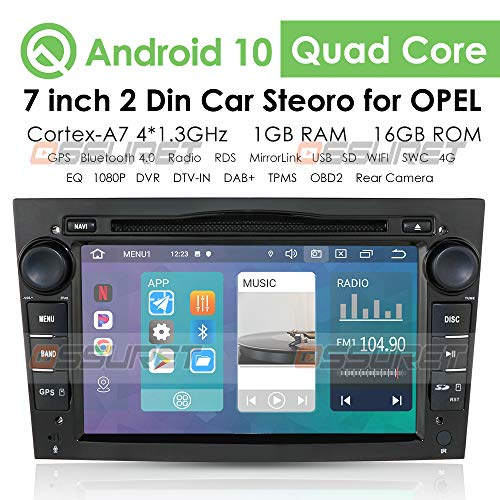 Android 10 Car GPS Navigation Bluetooth Vehicle Radio 1080P Video Stereo Player Se Adapta para Opel Antara Combo Meriva Signum Support Android & iOS Mirror-Link Steering Control (Negro)