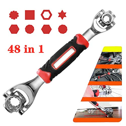 Tiger Wrench Universal Socket Wrench Tools Bike Spanner Multifunction Wrench 48 in 1 Wrench Tool Gadgets for Men (Red)