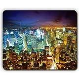 マウスパッド、ニューヨーク夜の高層ビルのトップビュー、ゲームオフィスのマウスパッド