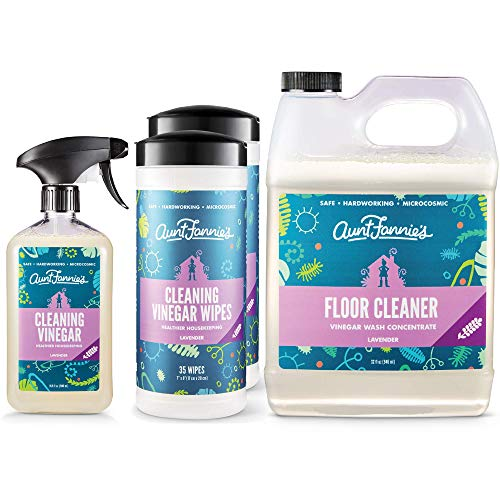 Aunt Fannie's Multi-Surface Vinegar Cleaning Kit: All Purpose Spray, Cleaning Wipes, and Floor Cleaner (Lavender, Bundle)