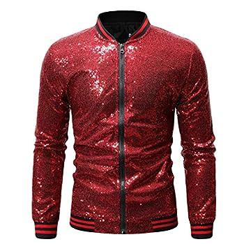 Omoone Men s Zip Up Mermaid Sequin Lightweight Shiny Clubwear Bomber Jacket  0480-WineRed-M