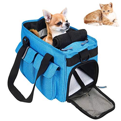 HAPPY HACHI Petcomer Haustier Träger für Hunde Katze-Leichtgewichtstoff Weiche Seitiges Trage Reisegepäck Duffle Umhängetaschen Airline genehmigt mit zusätzlichen Taschen (Grau)