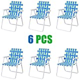 GYMAX Patio Folding Web Chair Set, 6 Pack Portable Lightweight Indoor/Outdoor Dining Chair for Patio, Garden, Bay, Yard, Lawn, Heavy Duty Chair Set (Blue & Green)