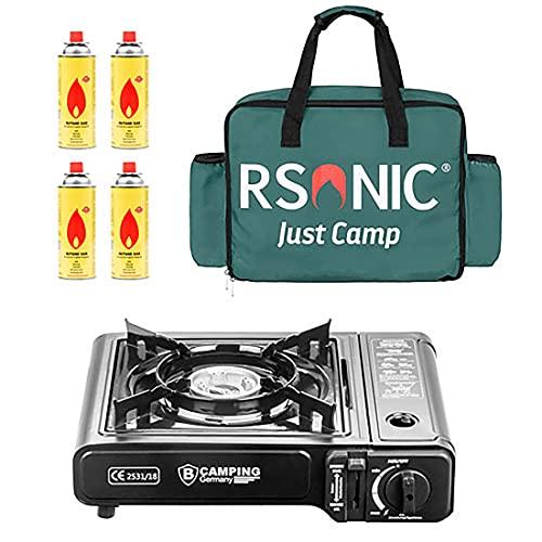 Mianova Campingkocher Outdoor Gaskocher BBQ Anzünder Grill Gaskartuschen Gas Kocher Herd 1 flammig Set Grillplatte Camping Koffer Tasche 4 Gasflaschen