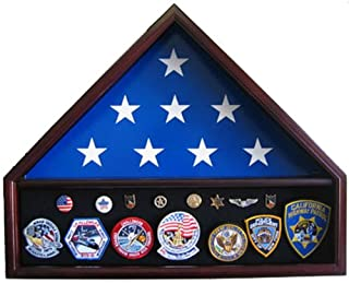 Memorial Burial Interment Flag Display Case Stand Medal Shadow Box for 5'X9.5' flag